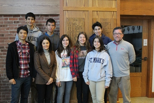Seven Chilean Exchange Students at St. Mark's